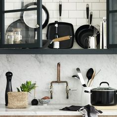 Monochrome small kitchen storage