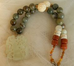 Chinese jade bamboo pendant w opal bead by TheJadeMerchant on Etsy