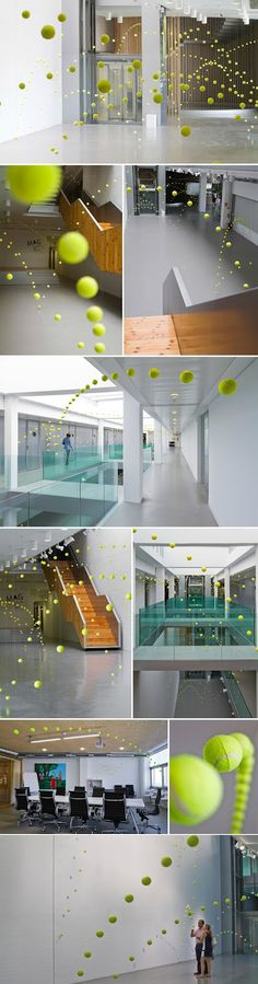 Causa-Efecto by Ana Soler involved 2000 tennis balls giving the illusion of bouncing all over the rooms of the Mustang Art Gallery