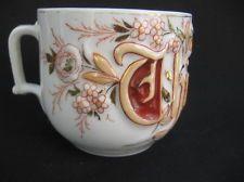 c 1900 Victorian Mustache THINK OF ME antique porcelain shaving Germany mug