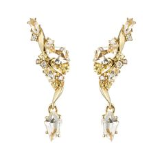 Golden Ice Marquis Traveling Post Earring in 18k Gold   Alexis Bittar