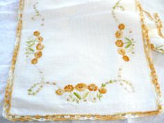 vintage embroidered table dresser runner scarf Yellow floral retro boho crochet edge off-white by sassycotton on Etsy