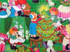 Vintage Christmas Gift Wrapping Paper - Juvenile Raggedy Ann and Andy Christmas Tree Trimming - 1 Unused Full Sheet Gift Wrap