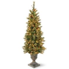 National Tree Company 4 ft. Glittery Gold Pine Entrance Artificial Christmas Tree in Dark Bronze Urn-GPG3-341-40 - The Home Depot