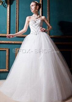 Organza Herzausschnitt A Linie Trägerlos mit Perlen und Diamant verziertes Brautkleid-Prinzessin/A-Linie Brautkleider