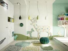 grüne farbnuance modernes kinderzimmer einrichtung pendelleuchten design regal #kids #bedroom