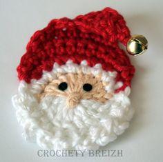 Père Noël au crochet avec grelot x 6 : Décoration pour enfants par crochety-breizh