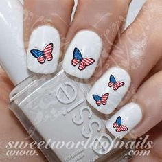 4th of July Nail Art USA Flag Butterfly Nail Water Decals Transfers Wraps