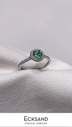 Emerald Diamond, Diamond Rings, Halo Diamond Engagement Ring, Conflict Free Diamonds, White Gold Rings, Wedding Jewelry, Flow, Jewlery, Stones