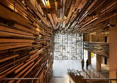 March Studio adds thousands of timber planks to staircase of Canberra's Hotel Hotel Space Interiors, Hotel Interiors, Timber Planks, World Architecture Festival, Tower Block, Design Hotel, Lobby Design, Restaurant Design, Grand Staircase