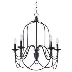 Rivy West 5-Light Oil Rubbed Bronze Chandelier with Silver Highlights - Home Depot - $149.00