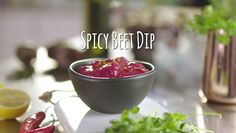 Colourful and full of flavour, this dip packs a real punch. Beetroot Dip, Beets, Kiwi, Punch, Spicy, Favorite Recipes, Entertaining, Cheese, Foods