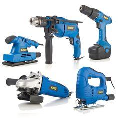 Kinzo elektrisk verktøysett i 5 deler – drill, vinkelsliper, plansliper, slagboremaskin og stikksag Drill, Hole Punch, Drills, Drill Press