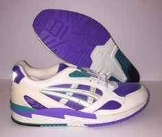 Details about Deadstock VTG 80s Mens 7.5 Asics Gel High Top Sneakers White Purple Streetwear