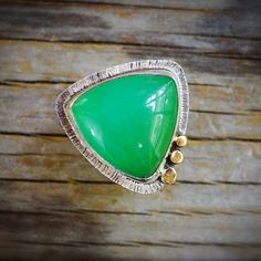 Sterling silver chrysoprase ring with 18K gold. Sterling silver apple green translucent chrysoprase ring Mixed metal chrysoprase ring size 6