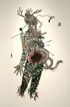 """Reciprocal Pain by Kako Ueda, 2009.  Layers of hand-cut paper pieces with watercolor/acrylic, 92"""" X 55""""."""