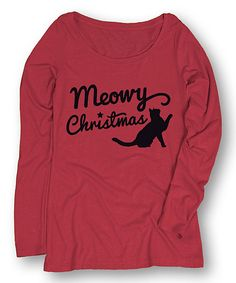 Look at this LC Trendz Red 'Meowy Christmas' Long-Sleeve Tee on #zulily today!