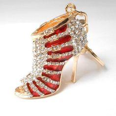 Rhinestone Bling Gold Tone Key Chain Purse Charm Fob Black High Heel Shoe
