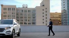 A man walks onto a rooftop parking lot and uses his smartphone to start his Hyundai Tucson. A thumping musical beat kicks in as he waltzes over to the car in slow motion and gets behind the wheel. During Hyundai's Seize the Moment Sales Event, customers can get a discounted lease on the 2016 Tucson.