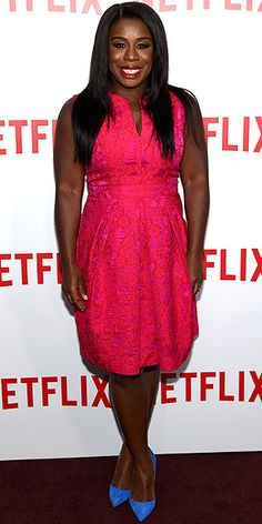 Last Night's Look: Love It or Leave It? Vote Now! | UZO ADUBA  | in a bright, embroidered dress and blue suede shoes at an Orange Is the New Black screening in N.Y.C.