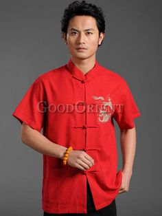 Chinese red with dragon pattern shirt
