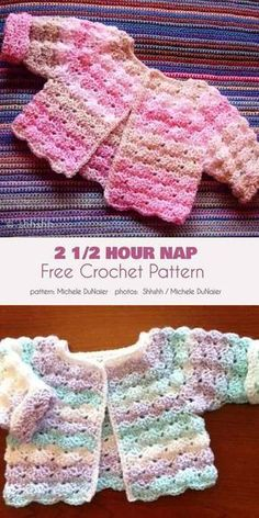 2 Hour Nap Free Crochet Pattern Here is an absolutely beautiful baby sweater that is infinitely variable in terms of color and texture combinations. This gorgeous pattern has a rich, soft texture eminently suited to baby cl Crochet Baby Sweater Pattern, Crochet Baby Jacket, Crochet Baby Sweaters, Baby Sweater Patterns, Crochet Baby Clothes, Baby Girl Crochet, Baby Knitting Patterns, Crochet For Kids, Baby Patterns