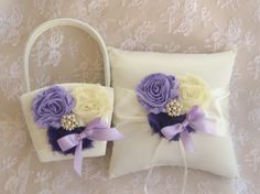 Flower Girl Basket   Lavender Rose Blossom by nanarosedesigns