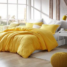 Shop for Natural Loft Comforter - Mimosa. Get free delivery On EVERYTHING* Overstock - Your Online Fashion Bedding Store! Duvet Bedding, King Comforter Sets, King Duvet, Yellow Comforter Set, Duvet Cover Sets, Online Bedding Stores, Affordable Bedding, Mellow Yellow, Houses