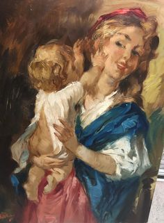 (20) Maleri Charles Roka eks ramme | FINN.no Angry Cat, Mother And Child, Children, Cats, Painting, Paint, Mother Son, Young Children, Boys