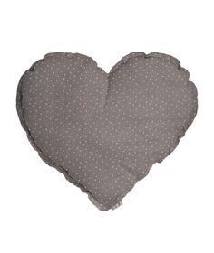 Heart Cushion silver grey with beige stars