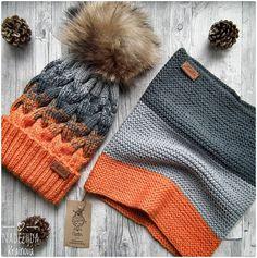 Beanie & cowl, greys and orange