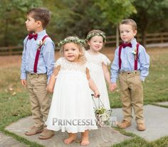 Customer Photo: Boho Beach Lace Cap Sleeves Ivory Chiffon Flower Girl Dress SKU: Shop Now: - April 20 2019 at Wedding Outfit For Boys, Wedding With Kids, Suspenders For Boys, Gold Diamond Wedding Band, Chiffon Flowers, Chiffon Dress, Forever, Bridal Sets, Flower Girl Dresses