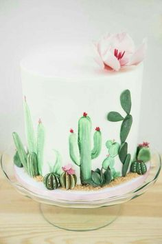 """Cactus cake from a """"Desert Love"""" Cactus Themed Birthday Party on Kara's Party Id. - Cactus cake from a """"Desert Love"""" Cactus Themed Birthday Party on Kara's Party Ideas Pretty Cakes, Cute Cakes, Beautiful Cakes, Amazing Cakes, Amazing Birthday Cakes, Fancy Birthday Cakes, Birthday Cake Designs, Cupcakes Succulents, Cactus Cake"""