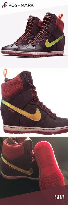 Nike Dunk Sky Hi Wedge Sneaker 2.0 Burgundy Gold 6 Nike Dunk Sky Hi Wedge Sneakerboot 2.0 Burgundy Gold Women's size 6. New in box, style number 684954. ❌I DONT TRADE❌ Nike Shoes Sneakers