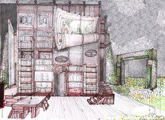 """Boceto de escenografía: """"La Avería"""". Premio Max 2011. Espacio escénico: Andrea D'Odorico Stage Design, Set Design, Stage Set, Line Drawing, Beauty And The Beast, Pencil Drawings, How To Draw Hands, Sketches, Scene"""