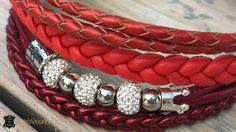 Hundehalsband in rot Luxus mit Strass und Krone