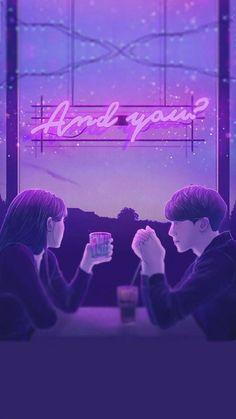 Cute Couple Art, Anime Love Couple, Cute Anime Couples, Couple Illustration, Illustration Art, Pixel Art, Couple Wallpaper, Wallpaper Bible, Neon Aesthetic