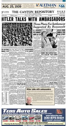 Tensions between Germany and Poland on the eve of World War II make front-page news in The Repository on Aug. 25, 1939.
