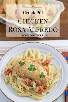 I love easy Crockpot recipes that are perfect for families. This Crock Pot Chicken Rosa Alfredo reci Crock Pot Slow Cooker, Slow Cooker Recipes, Crockpot Dessert Recipes, Crockpot Meals, Yummy Recipes, Alfredo Recipe, Freezer Cooking, Freezer Meals, Grilled Chicken Recipes