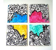 Ceramic Coasters Art Tiles Painted Black and White Flowers Illustrated Botanicals Pink Orange Green Blue, $48.0