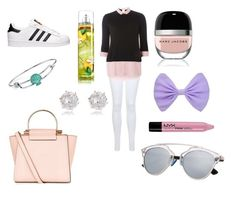 """School Outfit!"" by eviemadeleine on Polyvore featuring Miss Selfridge, Dorothy Perkins, adidas, Disney, River Island, New Look, Marc Jacobs and NYX"