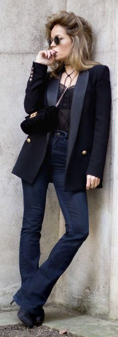 #Street #Fashion | Navy With Gold Button Blazer, Black Lace Slip Top, denim Flares, Black Booties |Un-Likely
