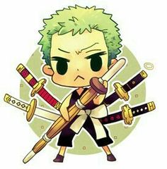 Roronoa Zoro, chibi, cute; One Piece