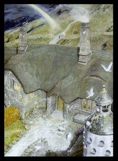 J'adore cette illus d'Alan Lee. On y trouve tous les matériaux et l'apparence exacte de la pierre de ces contrées. Entre pierre d'écosse et pierre d'Auvergne. Elle a un côté rustique et traditionnelle que j'adopte de facto pour le Monastère !