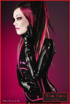 Cyber Goth Black & Pink Dread Falls, 20' Long Short Layered, Criss-Cross Dreads, Cosplay, Costume