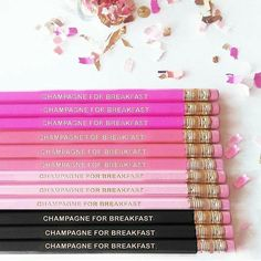 #CHAMPAGNE FOR BREAKFAST All colors now back in stock! Hot Pink #Pastel Pink #Coral Pink & Black!  Get yours now they go fast!  Want them to say something else? We do customs as well! . . . . . . . . . #champagneforbreakfast #blush #blushpink #goldfoil #pinkpencil #desk #champagnequotes #moet #moetchandon #home #homeoffice #office #pocketbooks #lightbox #personalizedpencils #custompencils #desktop #officedecor #champagneisalwaystheanswer #glam #weddinggift #bridesmaidgift #partyfavors…