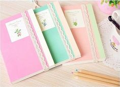 Korean Stationery Diary Notebook Pocketbook w Lace 3 Colors Korean Stationery, Kawaii Stationery, Folder Decorado, Cute Stationary, Stationary Supplies, Art Supplies, Office Supplies, Cute Notebooks, Journals