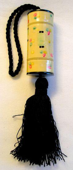 Asian Party Lanterns celluloid BOLSTER shaped compact purse - circa 1920s