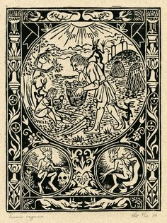 "Original Linoprint art alchemy magic history Linocut deamon imp ghoul dark ages folklore supernatural ""Furmico aegarica"" 6/50 Chris Richford"