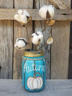 Hand Painted Winter & Fall Mason Jar with cotton Fall Craft Fairs, Fall Crafts, Fall Mason Jars, Mason Jar Diy, Mason Jar Projects, Mason Jar Crafts, Vintage Bottles, Antique Bottles, Vintage Perfume